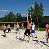 Beach volleyball court at the campsite for groups
